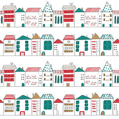 Seamless pattern with doodle houses. Abstract cityscape. Vector background with sketchy city.