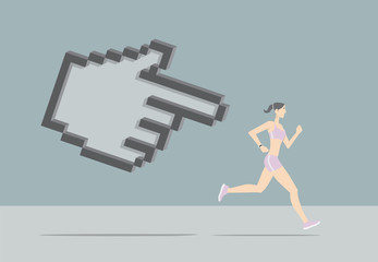 Fitness Tracking App. Girl running chased by hand pointer.