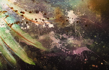 abstract painting with blurry and stained structure. Color effect and Computer collage. with gentle feather silhouette.