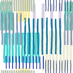 Striped geometric seamless vector pattern. Hand drawn uneven blocks of vertical stripes , free layout. Colors of sunny seaside, on white background. Textile design.