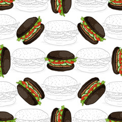 seamless pattern burger scetch and color