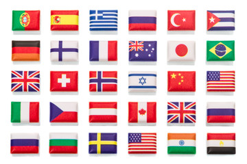 Thirty miniature flags volumetric