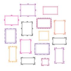 Set of hand drawn decorative photo frames. Colorful vintage frames. Doodles, sketch for your design. Vector illustration.