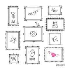 Set of elements for Valentine's Day, Mother's Day, birthday, wedding. Decorative vintage frames. Doodles, sketch for your design. Vector illustration.