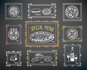 Set of elements for restaurant menu, cafe, pizzeria. Festive menu. Hand drawn food elements and frames with chalk on the black chalkboard.