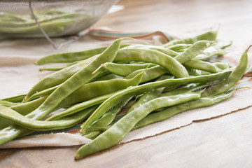 fresh green beans just cleaned