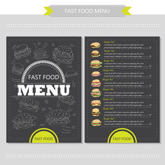 Vector hand drawn illustration with fast food