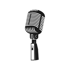 Microphone monochrome icon. Element for logo, label, emblem, bad