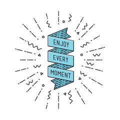 Enjoy every moment, flat design thin line banner