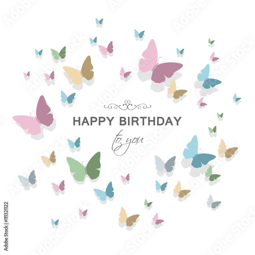 Vector Illustration Of A Happy Birthday Greeting Card Design With Happy Birthday Wishes Butterfly