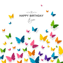 Vector Illustration of a Happy Birthday Greeting Card with Colorful Paper Butterflies