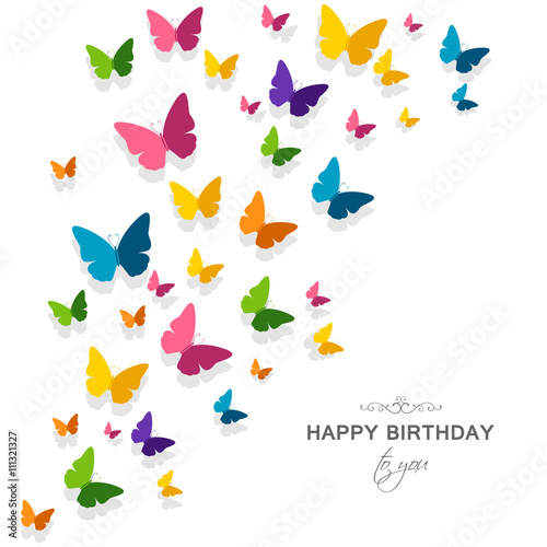 Vector Illustration Of A Happy Birthday Greeting Card With Happy Birthday Wishes Butterfly