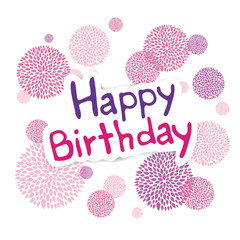 Vector Illustration of a Happy Birthday Greeting Card with Floral Design Elements