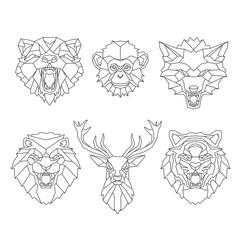 Line art animals heads