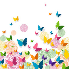 Vector Illustration of a Greeting Card Design with Colorful Paper Butterflies and Floral Elements