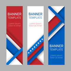 Set of modern vector vertical banners, page headers with stripes and stars in the colors of the American flag. Material design banners for Presidents day, USA Independence day