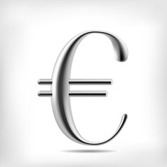 Euro currency symbol 3D metal alloy