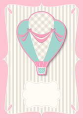 Template with retro hot air balloon, illustration