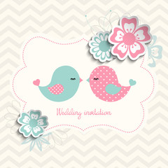 wedding invitation with two birds and flowers, illustration