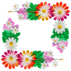 Flowers made of colorful paper  used for decoration isolated on