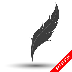Feather icon. Feather flat design. Picture of Feather. Vector illustration.