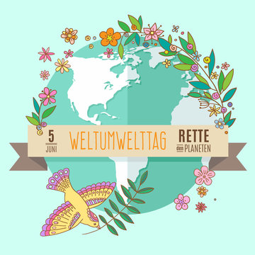 World environment day concept with mother earth globe and green leaves and flowers on mint background. German translation of the inscription: World Environment day. Save the Planet. 5 June. Vector