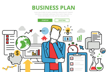Business Plan vector flat line art infographics banner