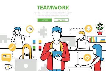 Teamwork concept team office vector flat line art infographics