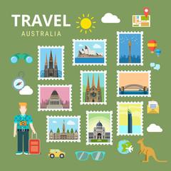 Travel Australia New Zealand flat vector tourism landmark
