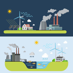 Green energy clean city compared to polluted plant factory industrial area web site banner hero image set. Flat style modern vector illustration.
