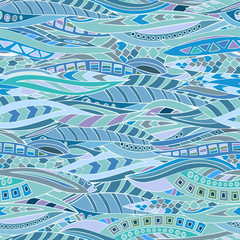 Seamless pattern of hand-drawn and colored abstract elements.  Vector graphics.