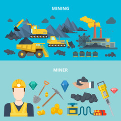 Mining industry heavy machinery automobile wheeled tracked transport miner equipment tool web site banner hero image set. Flat style modern vector illustration.