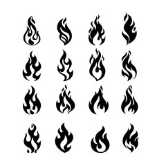 Black Burning Fire Flame Logo set design vector template.