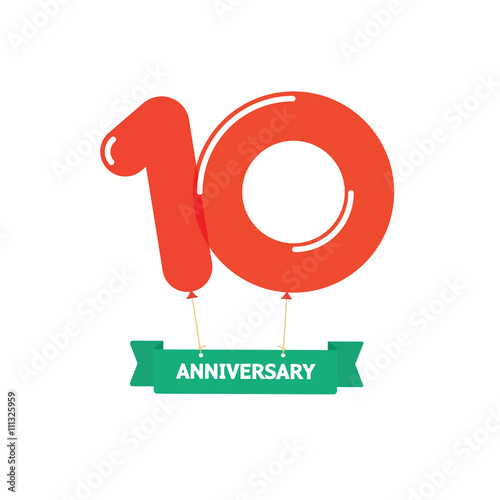 10th Anniversary Balloons Poster Red Label 10 Years Trend Modern