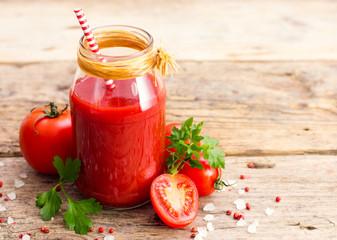 Tomato juice in the jar