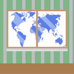 View from window to map world vector