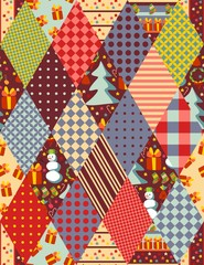 Colorful seamless patchwork pattern for Christmas. Vector illustration.