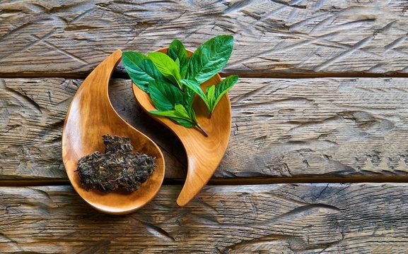 Dried tea with mint
