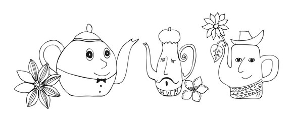 Cartoon vector illustration of talking teapots with flowers.