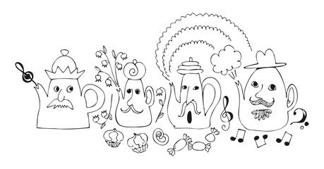 Cartoon drawing of talking teapots. Cute fairy vector illustration.