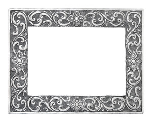 old decorative silver frame - handmade, engraved - isolated on w