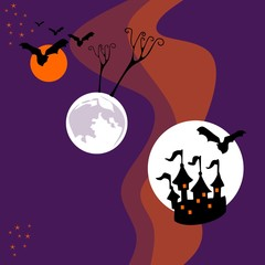 Halloween card with planets in space. Haunted castle, trees, bats and stars in cosmos. Vector illustration.