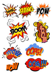 retro cartoon explosion pop art comic set. Vector