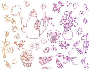 Beautiful card with hand drawn elements for tea party - teapot, cups, spoons, vases with flowers, sweetness. Vector illustration.