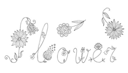 """Word """"flower"""" from letters with flowers. Hand drawn black and white vector illustration."""