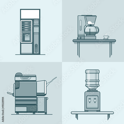 "Office Kitchen Interior Design: ""Office Kitchen Technical Room Interior Indoor Set. Linear"