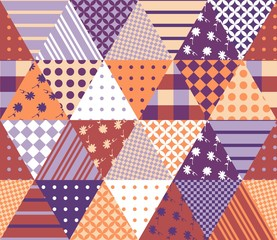 Vintage seamless patchwork pattern. Geometric triangle tiles. Vector illustration.
