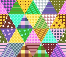 Colorful seamless patchwork pattern. Geometric triangle tiles. Vector illustration