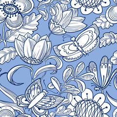 Doodle floral seamless pattern with butterflies