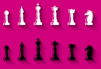 Set of chess figures. Chess elements complete collection. Black and white chess figures. Flat style chess pieces isolated. Vector illustration.